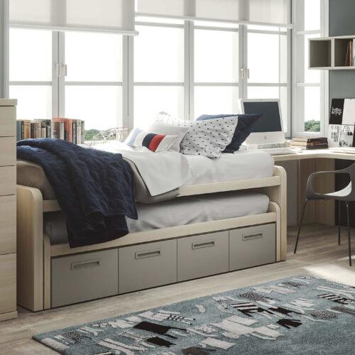 Dormitorio juvenil blanco y beige